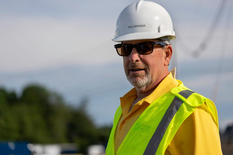 With a culture of safety, Brenner Recycling requires hard hats, high visibility vests, and eye protection for workers on the job site.
